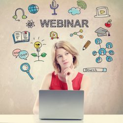 Webinar concept with young woman working on a laptop